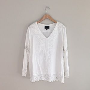 Cynthia Rowley crochet lace white linen blouse